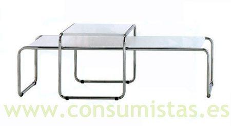 mesas nido bajas estilo marcel breuer lacadas blanco o. Black Bedroom Furniture Sets. Home Design Ideas