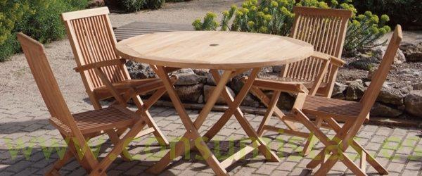 Conjunto de teca para exterior mesa y sillas plegables - Sillas y mesas exterior ...