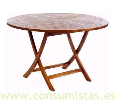 Mesa de madera de teca exterior redonda plegable varias - Mesas madera exterior ...